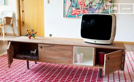 Le meuble tv scandinave est parfait pour ranger dvd et consoles de jeux